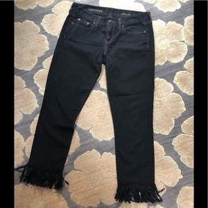 J. Crew, toothpick ankle black jeans. FRINGED!!